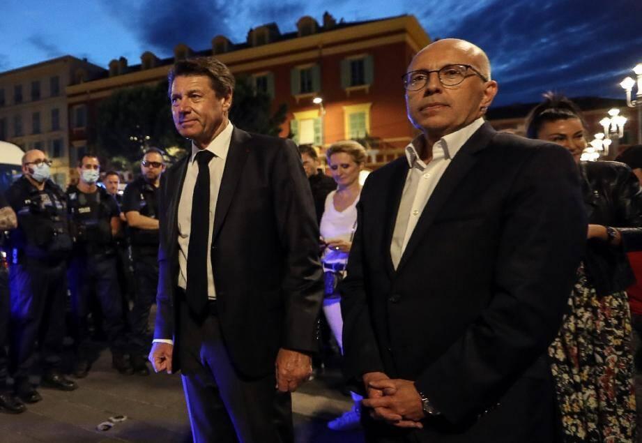 Le maire de Nice Christian Estrosi (g) et le député LR Eric Ciotti, à Nice le 11 juin 2020.