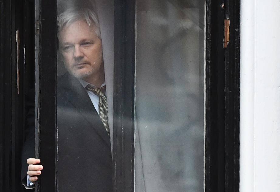 Le fondateur de WikiLeaks  Julian Assange à l'ambassade d'Equateur à Londres le 5 février 2016
