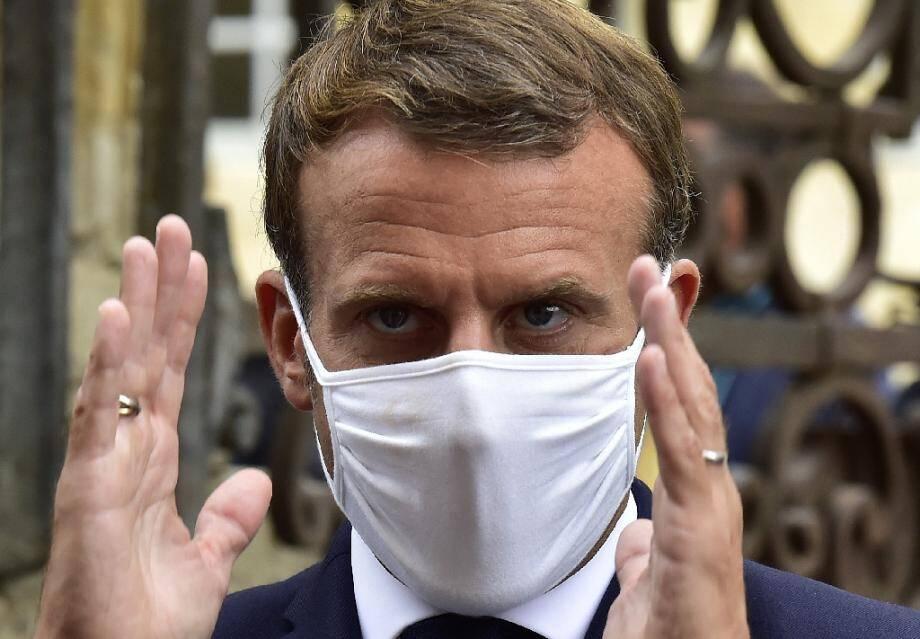 Le président français Emmanuel Macron en visite dans le sud de la France le 18 septembre 2020.