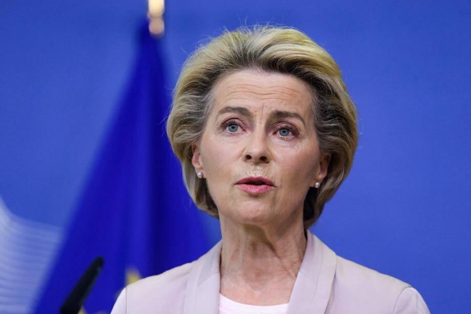 La présidente de la Commission européenne, l'Allemande Ursula von der Leyen, lors de l'annonce du remplacement du commissaire irlandais Phil Hogan, le 8 septembre 2020 à Bruxelles
