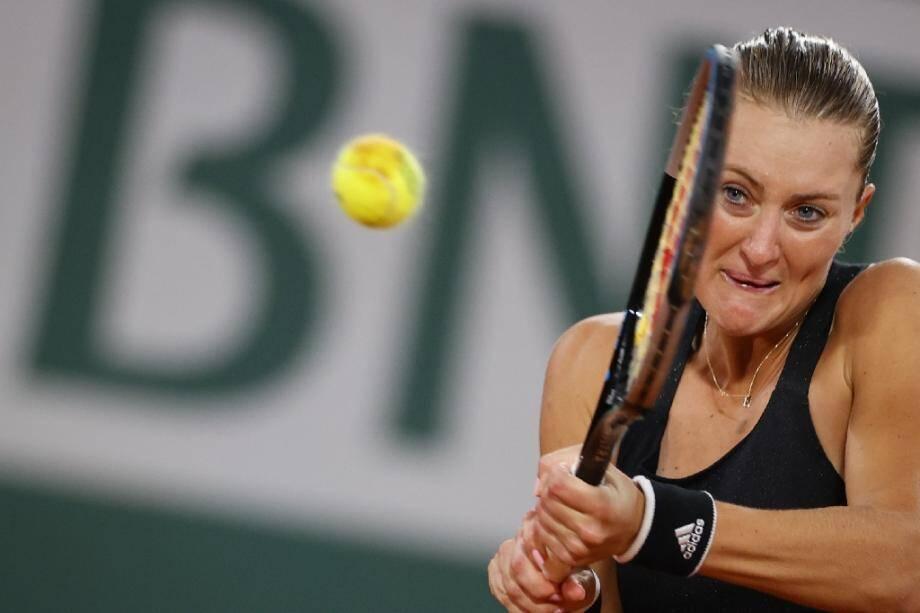 Kristina Mladenovic contre l'Allemande Laura Siegemund au premier tour de Roland-Garros, le 29 septembre 2020 à Paris