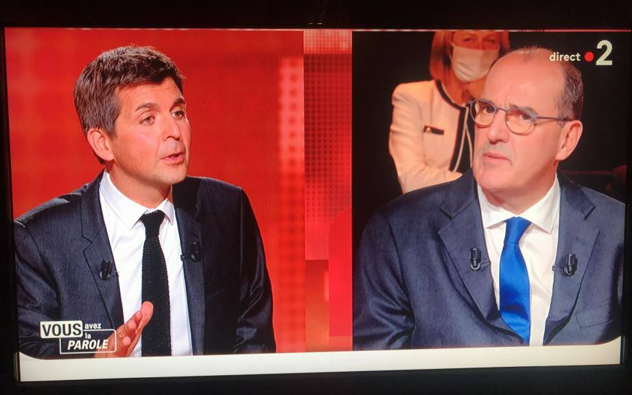 """Le Premier ministre Jean Castex sur le plateau de """"Vous avez la parole"""", sur France 2."""
