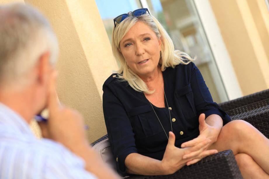 Marine Le Pen a répondu à nos questions, ce samedi à Fréjus.