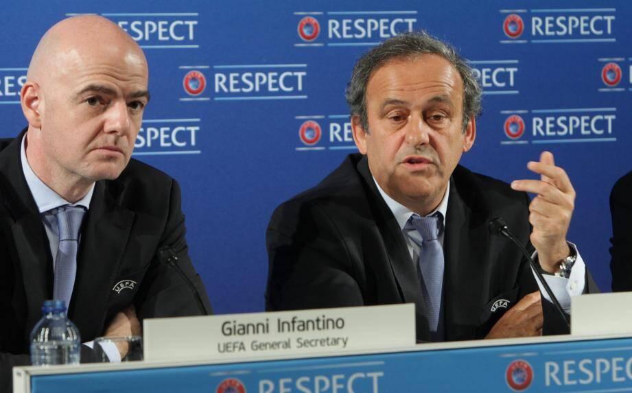 Gianni Infantino et Michel Platini à Nice, en 2016.