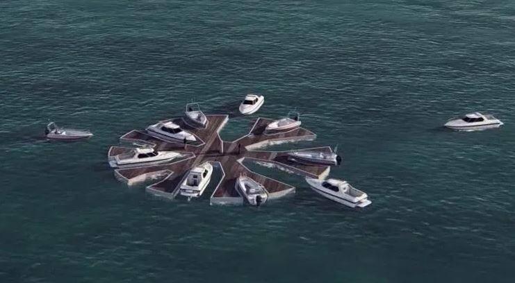 La startup Seafloatech, lancée par le navigateur Lionel Péan, prône l'installation de modules flottants au large des côtes et des zones portuaires pour favoriser un mouillage des bateaux plus écologique,