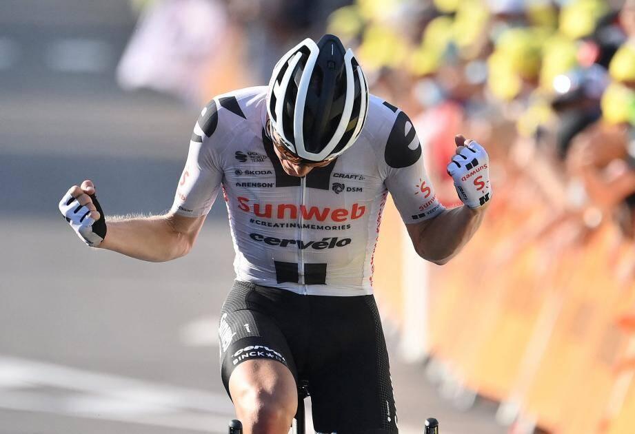 Le Danois Soeren Kragh Andersen (Sunweb) vainqueur de la 19e étape du Tour de France, entre Bourg-en-Bresse et Champagnole, le 18 septembre 2020