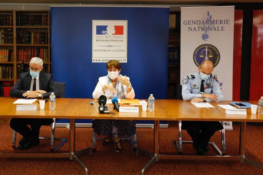 Lors de la conférence de presse tenue mercredi au TGI de Marseille.