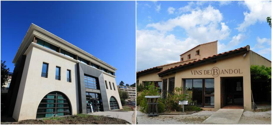 L'œnothèque (à gauche) située à l'entrée de Bandol, et la Maison des vins, dominant le terroir de l'appellation, sont des lieux incontournables pour tout gastronome.