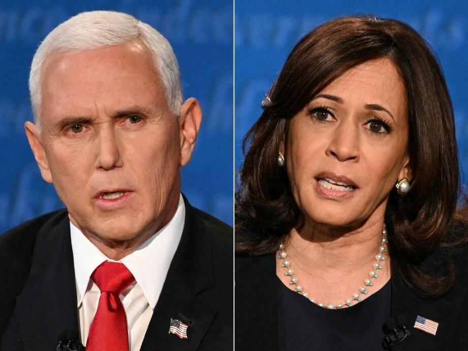 Mike Pence et Kamala Harris lors de leur unique débat télévisé, mercredi à Salt Lake City, dans l'Utah, à 27 jours de briguer la vice-présidence des Etats-Unis