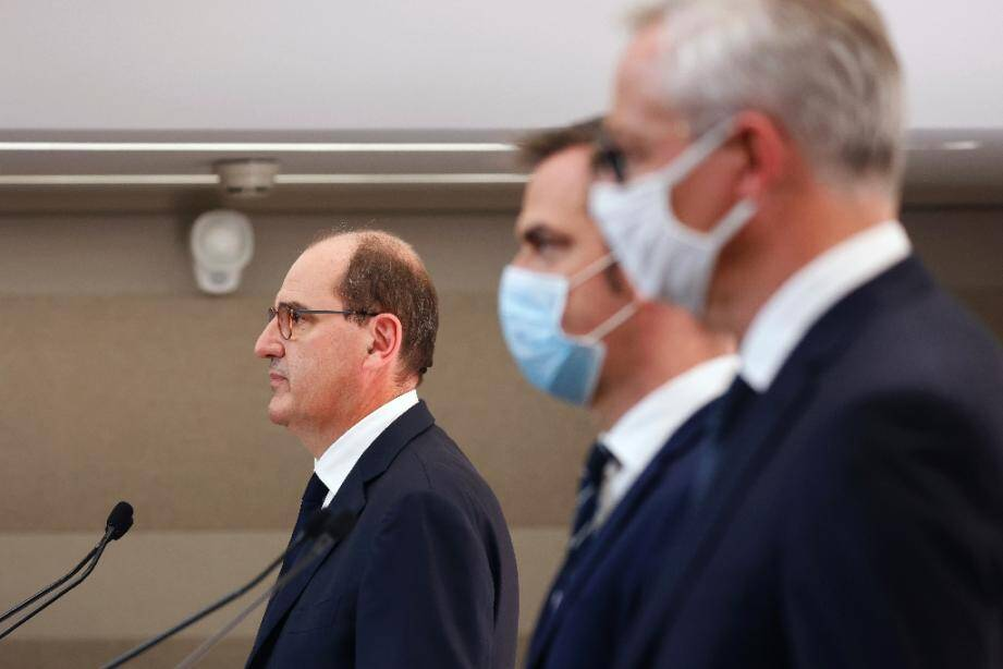 Jean Castex, Olivier Véran et Bruno Le Maire, le 15 octobre 2020, à Paris