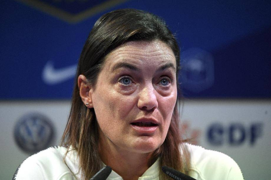 Corinne Diacre, sélectionneuse de l'équipe de France féminine de foot, le 26 août 2019 à Clairefontaine-en-Yvelines en région parisienne