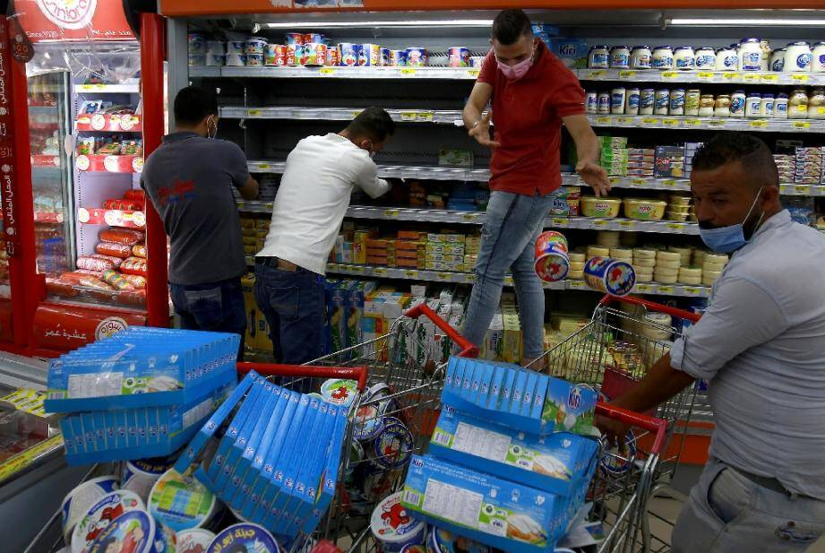 Des produits français retirés d'un supermarché d'Amman, en Jordanie, le 26 octobre 2020