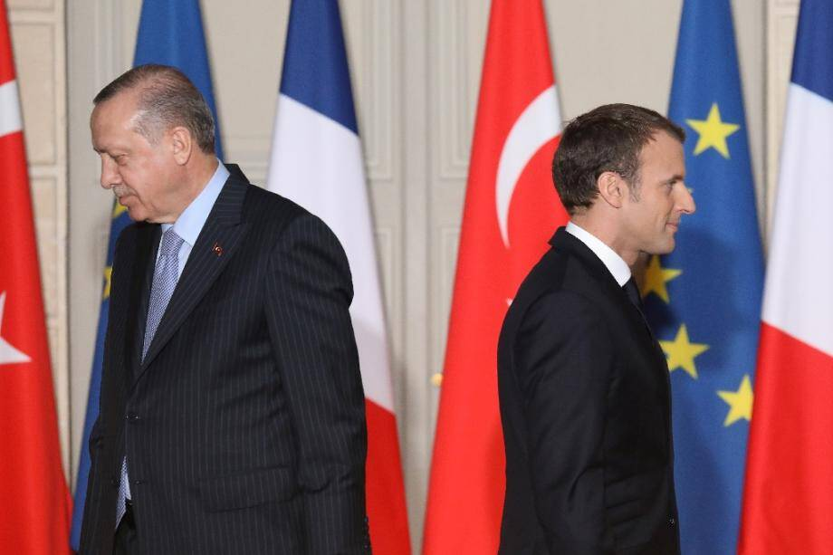 Emmanuel Macron (D) et Recep Tayyip Erdogan, le 5 janvier 2018 à Paris