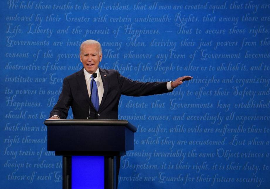 Le candidat démocrate Joe Biden lors du débat avec le président américain Donald Trump, le 22 octobre 2020 à Nashville, dans le Tennessee