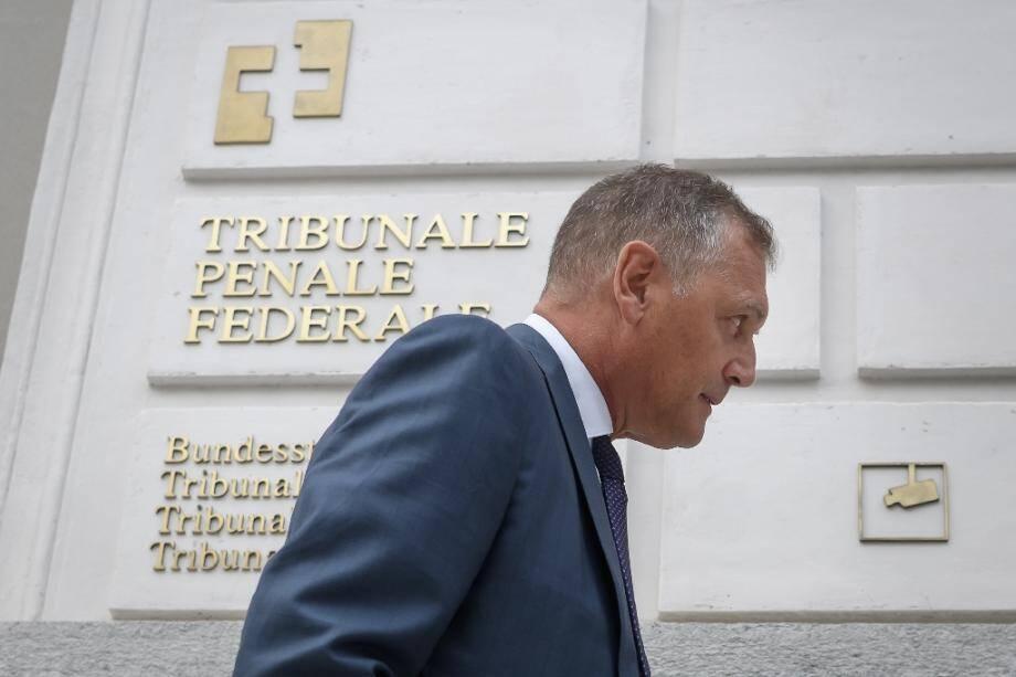 Jérôme Valcke, ancien N.2 de la Fifa, devant le Tribunal pénal fédéral le 14 septembre 2020 à Bellinzone en Suisse