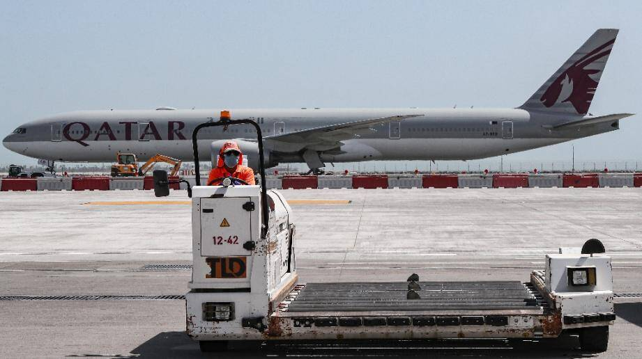 Photo d'archives du tarmac de l'aéroport international de Doha au Qatar, le 1er avril 2020
