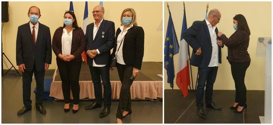 Jean-Pierre Dirick a reçu sa décoration des mains de la députée Alexandra Valetta-Ardisson, en présence du maire de Menton, Jean-Claude Guibal.