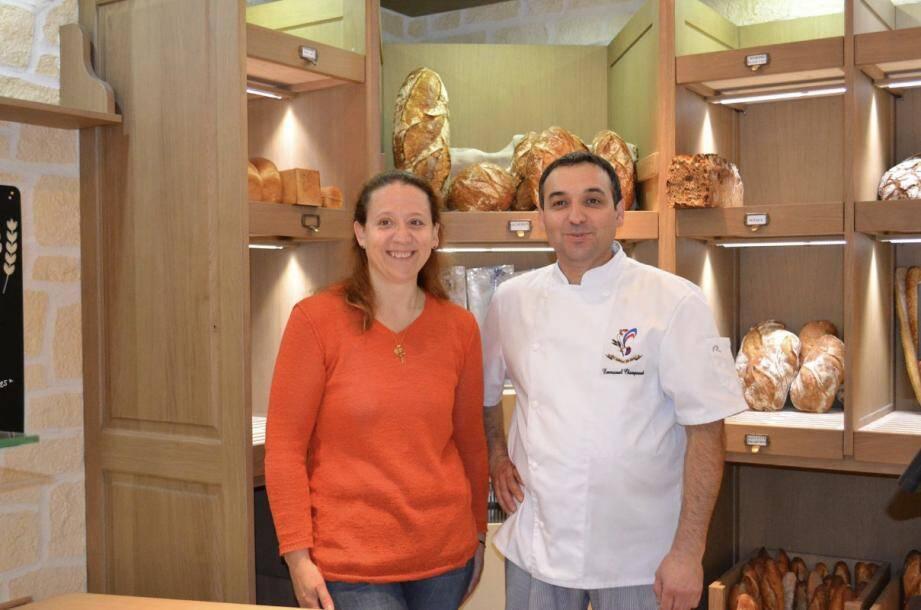 Emmanuel Champeaud, boulanger à Lyon, et son épouse, Francine.