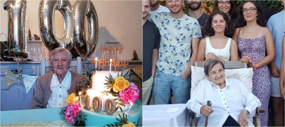 A gauche Marie-Antoine Resch dite « Mimi » a célébré dimanche dernier son centième anniversaire à Giens, son village qu'elle n'a jamais quitté. A droite Clémentine Marro, la doyenne du quartier des Rougières - 100 ans en plein confinement - a pu elle aussi marquer l'événement avec sa famille.