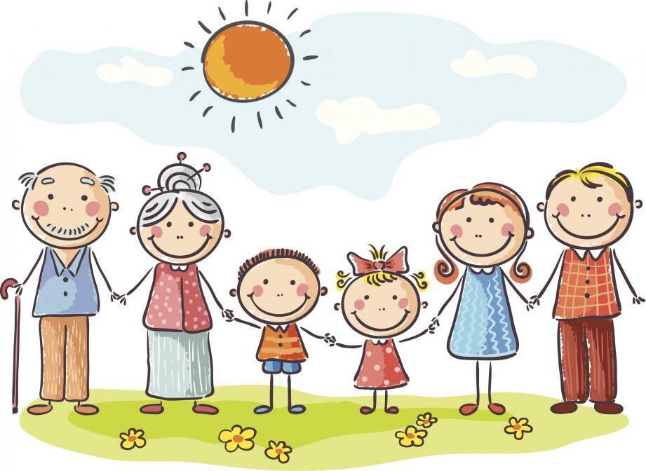 Un dessin d'enfant montrant une famille.