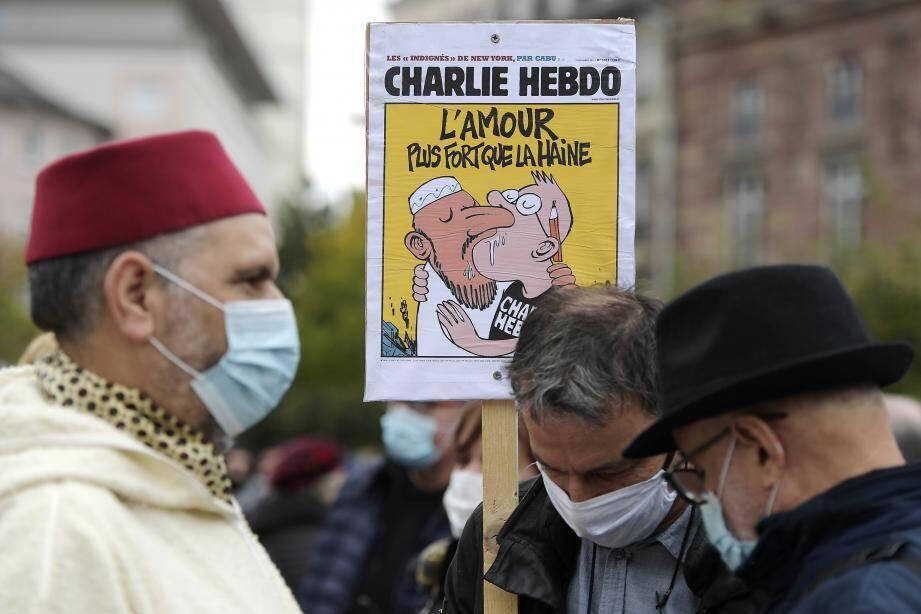 Une de Charlie Hebdo le 18 octobre 2020 à Strasbourg.