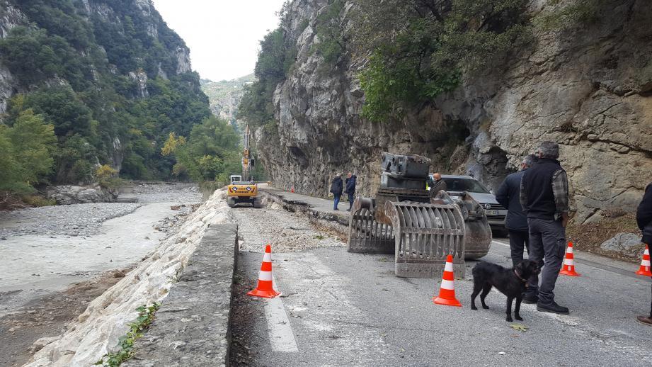 La route de la Vésubie en travaux.