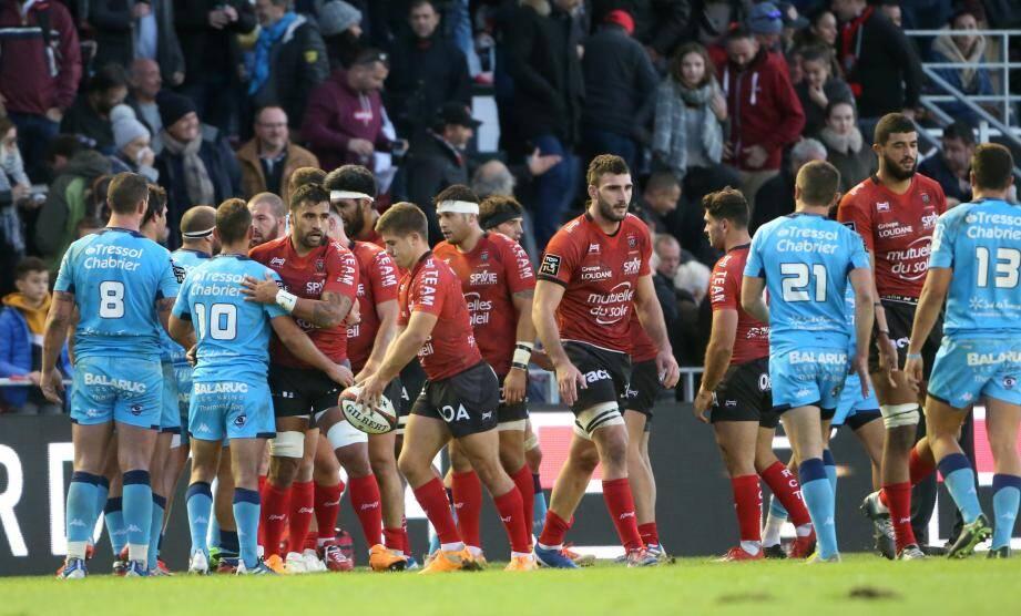 Lors du précédent RCT-Montpellier au stade Mayol en 2019.