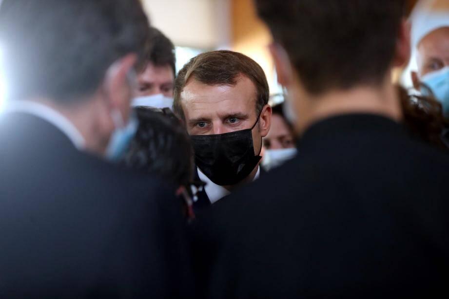 Macron en déplacement dans la vallée de la Roya, le 7 octobre 2020.