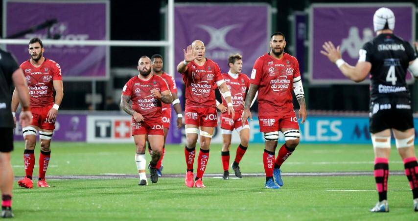 Les Toulonnais Ollivon, Gigashvili, Parisse et Taofifenua (Dakuwaqa et Serin en arrière-plan), ici contre Bristol.