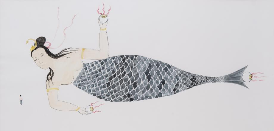 Shimabuku, I'm Travelling with a 165 meters Mermaid, 1998. Aquarelle sur papier.