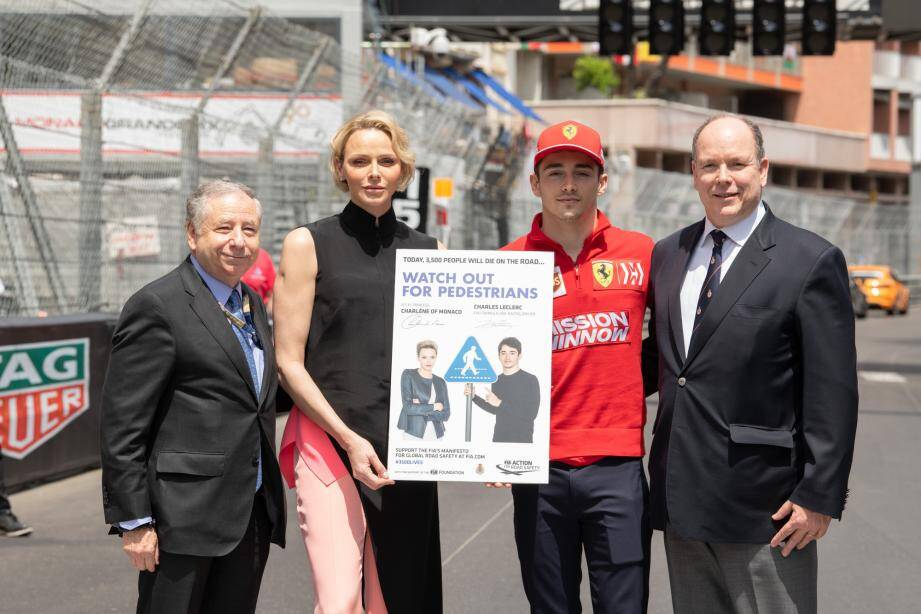 Jean Todt lors du GP de Monaco 2019 en compagnie de la Princesse Charlène, de Charles Leclerc et d'Albert II.
