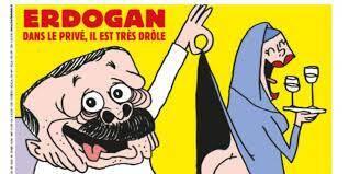 """M. Erdogan en slip, bière à la main, qui soulève la robe d'une femme voilée en s'écriant: """"Ouuuh! Le prophète!"""""""