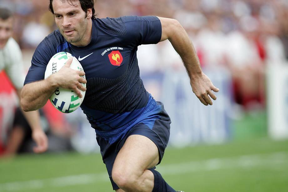 Christophe Dominici sous le maillot du XV de France.