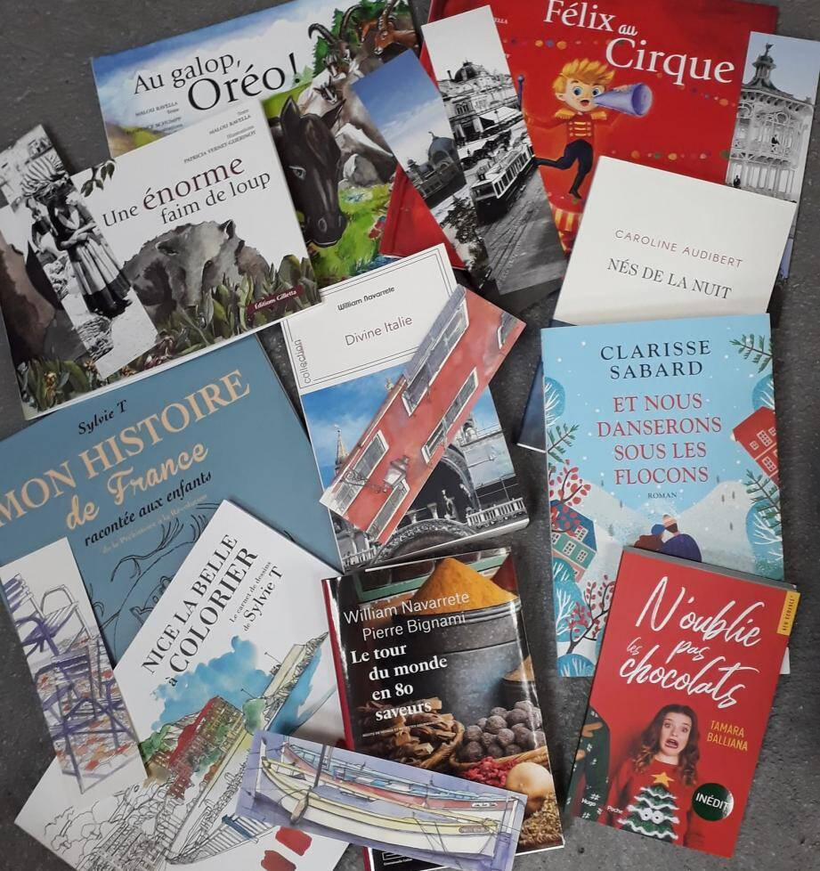 Tous les ouvrages en passe d'être dédicacés par leurs auteurs, demain samedi, à Cagnes-sur-Mer.
