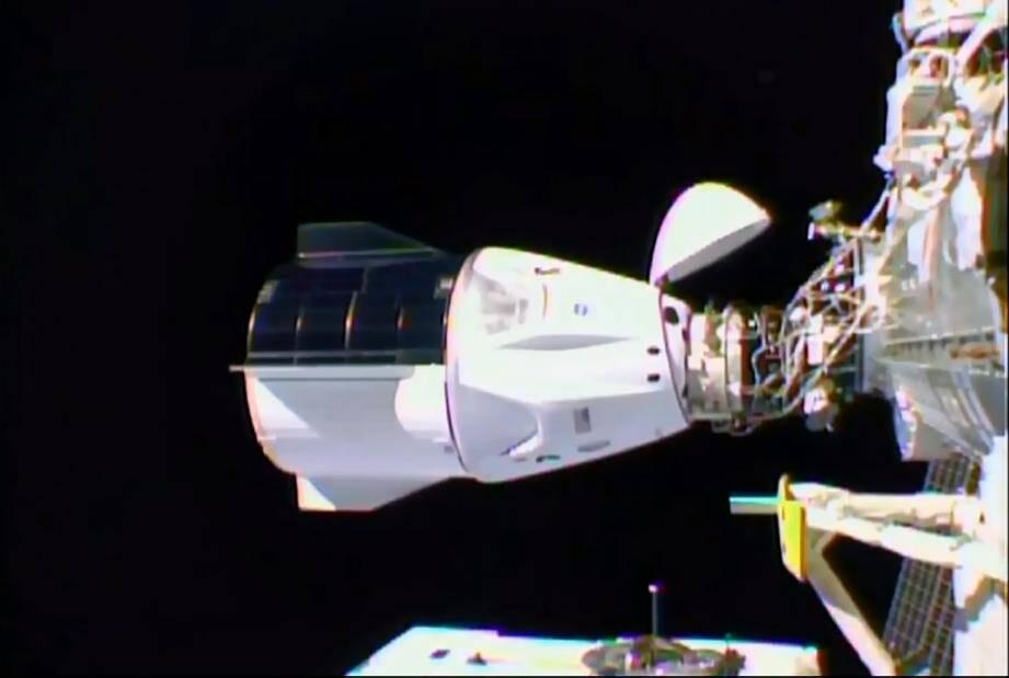Une image de la NASA montre la capsule Dragon de SpaceX arrimée à la Station spatiale internationale le 17 novembre 2020