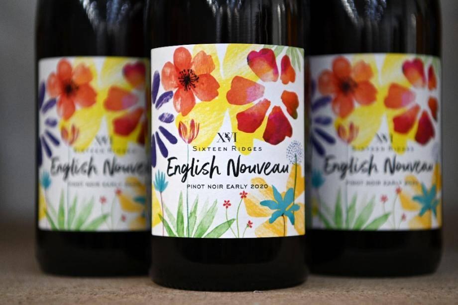 """Des bouteilles de """"English Nouveau"""" au domaine Haygrove Evolution's Sixteen Ridges à Ledbury, en Angleterre, le 12 novembre 2020"""