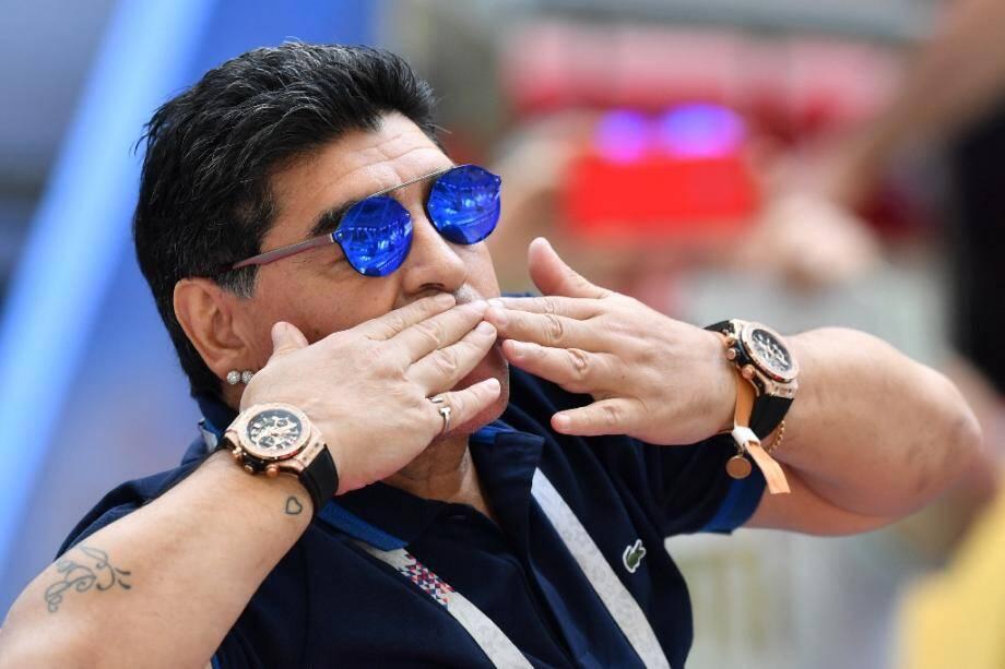 Diego Maradona lors du Mondial en Russie, le 30 juin 2018 à Kazan.