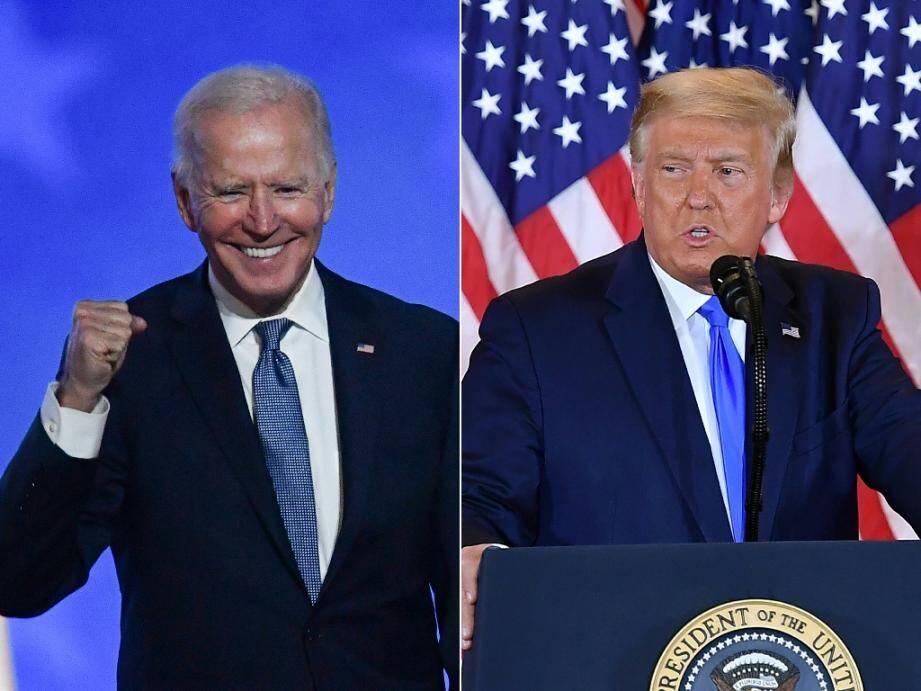 Photo montage créé le 4 novembre 2020 de Joe Biden lors de son discours à Wilmington et du président Trump à la Maison Blanche, tous deux intervenants le 4 novembre 2020