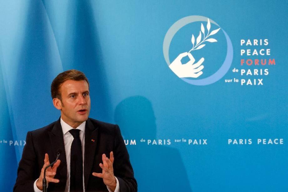 Le président Emmanuel Macron lors du Forum sur la Paix, le 12 novembre 2020 à l'Elysée, à Paris