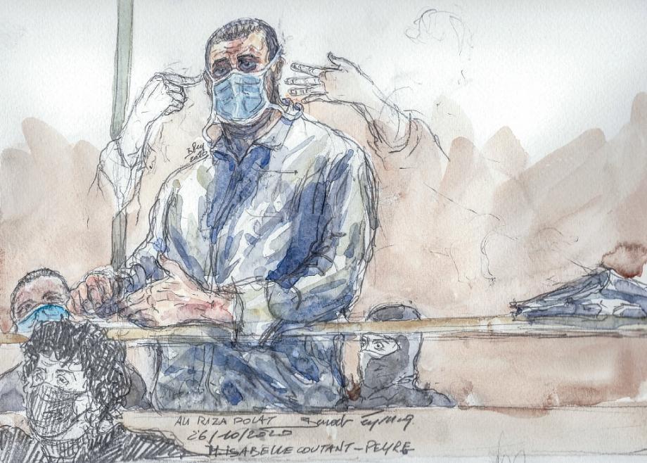 Croquis d'audience montrant Ali Riza Polat le 26 octobre 2020 devant la cour d'assises spéciale de Paris et son avocate Isabelle Coutant-Peyre
