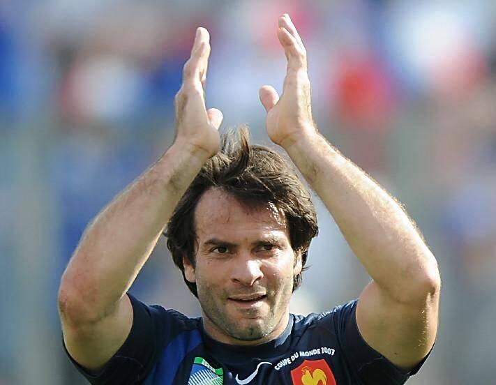 Christophe Dominici après avoir marqué lors du match de poules de la Coupe du monde 2007 face à la Géorgie, à Marseille, le 30 septembre