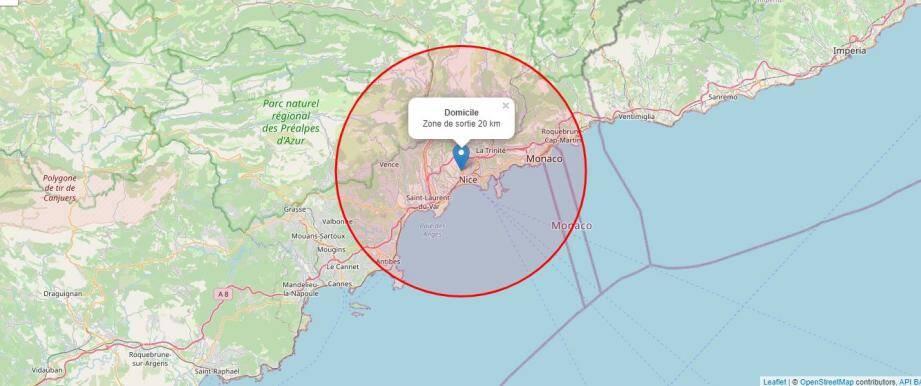 La zone des 20km calculée, depuis le centre de Nice, par l'outil carte-sortie-confinement.