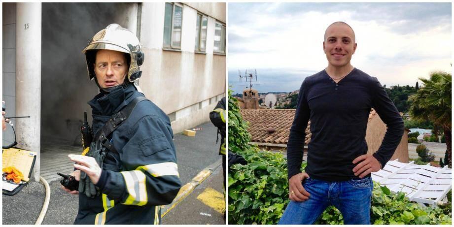 Bruno Kohlhuber et Loïc Millo, pompier volontaire à Saint-Martin-Vésubie son village.