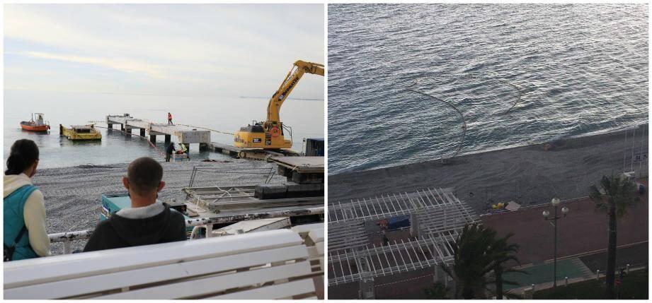 Le ponton jeudi vers 15 heures... et le même endroit (à droite) photographié ce vendredi. L'ouvrage a complètement disparu!