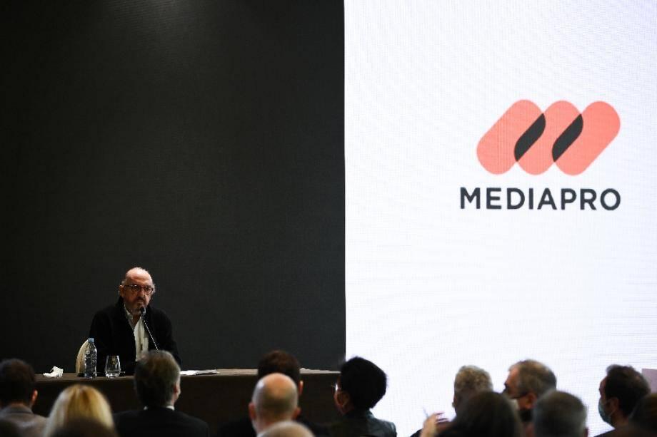 Le patron du groupe sino-espagnol Mediapro, Jaume Roures, lors d'un point presse à Paris, le 21 octobre 2020