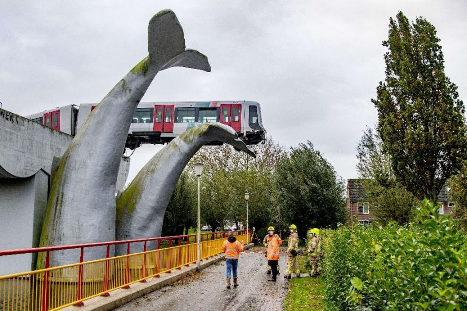 Une rame de métro qui a déraillé s'est échouée au sommet d'une sculpture de queue de baleine à Spijkenisse près de Rotterdam le 2 novembre 2020