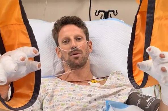 Romain Grosjean après son accident.