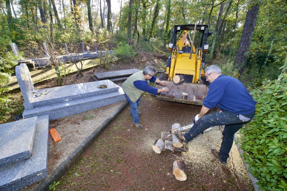 Les agents municipaux du cimetière réalisent tous les travaux de déboisement et de débroussaillement pour permettre la création de nouvelles sépultures. Ici autour du carré israélite.