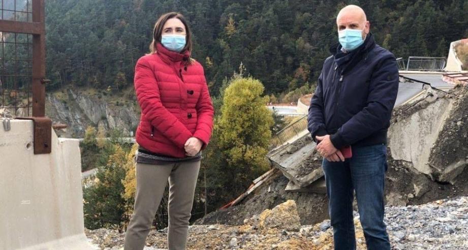 Massimo Riberi, le maire de Limone, venu constater les dégâts au col de Tende avec la députée européenne Gianna Gancia.