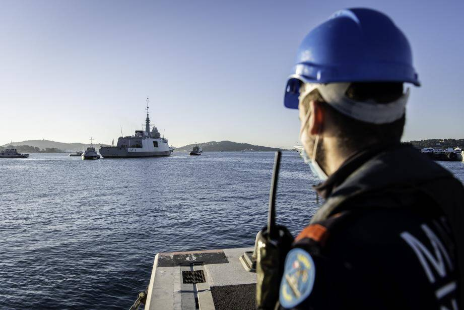 La frégate multimissions Languedoc à son arrivée à Toulon ce jeudi matin.